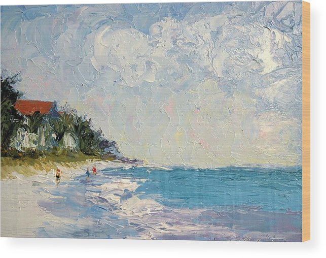 Seascape Wood Print featuring the painting On The Beach by Colleen Murphy
