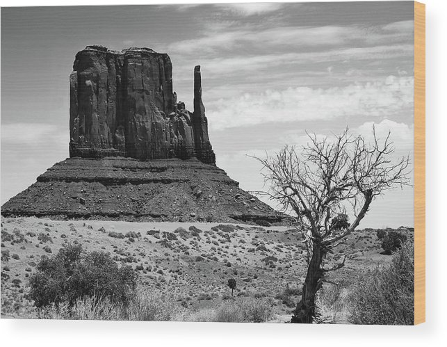 America Wood Print featuring the photograph One Mitten Of Monument Valley Arizona - Black And White by Gregory Ballos