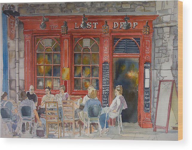 Pub Wood Print featuring the painting Out For A Pint by Victoria Heryet