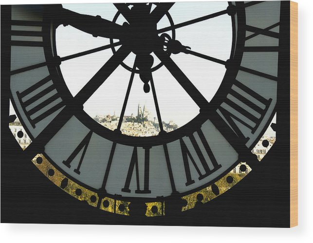 Clock Wood Print featuring the photograph Paris Through The Clock by Charles Ridgway