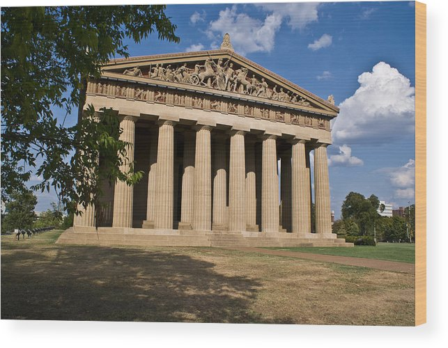 Parthenon Wood Print featuring the photograph Parthenon Nashville Tennessee From The Shade by Douglas Barnett