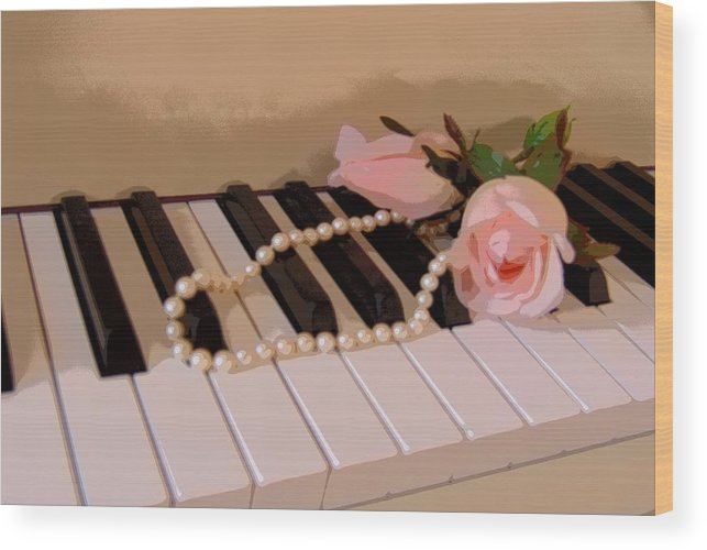 Still Life Wood Print featuring the photograph Pearly Pink Keys by Florene Welebny