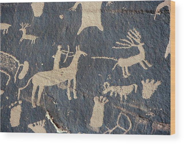 American Wood Print featuring the photograph Petroglyphs, Utah by Granger