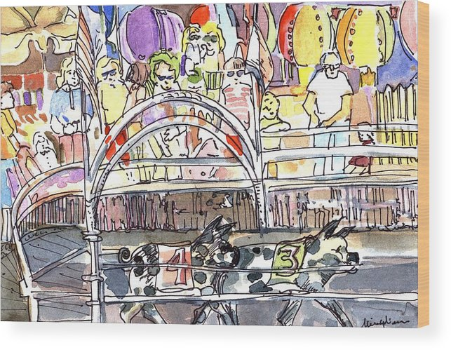 Pig Wood Print featuring the painting Pig Races by Mindy Newman
