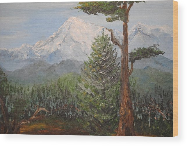 Landscape Wood Print featuring the painting Pike's Peak Colorado by Mona McClave Dunson