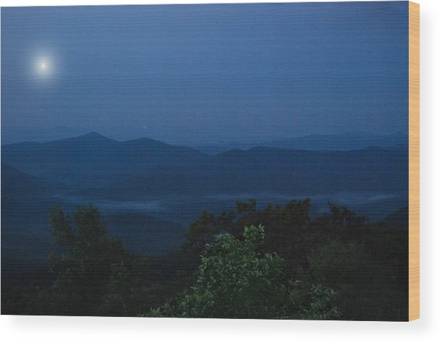 Night Wood Print featuring the photograph Pisgah At Night by Patricia Motley