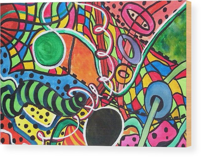 Abstract Wood Print featuring the painting Playground by Katina Cote