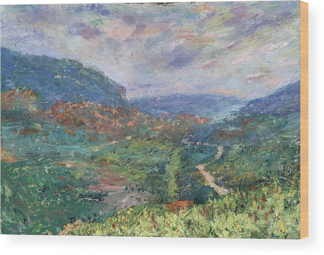 Landscape Wood Print featuring the painting Pleasant Vale by Horacio Prada