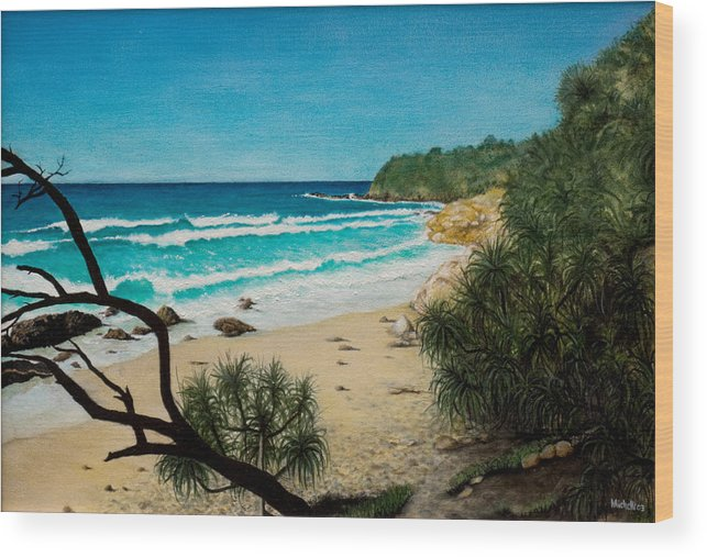 Seascape; Point Perry Wood Print featuring the painting Point Perry Coolum Beach by Joe Michelli