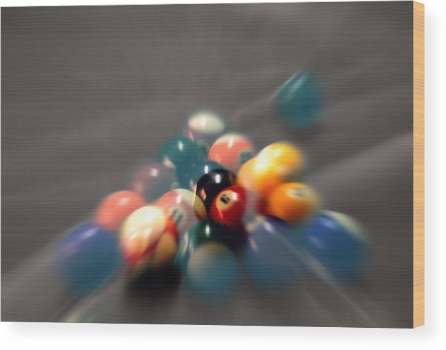 Pool Balls Wood Print featuring the photograph Pool Ball Break 2 by Steve Ohlsen