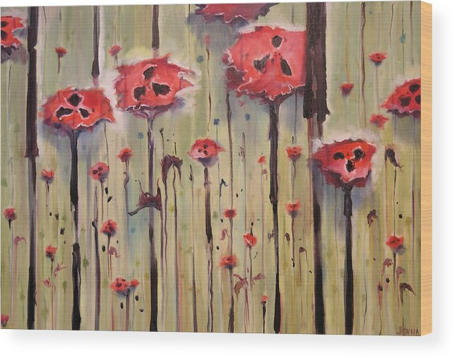 Poppy Field Wood Print featuring the painting Poppy Field by Jenna Fournier