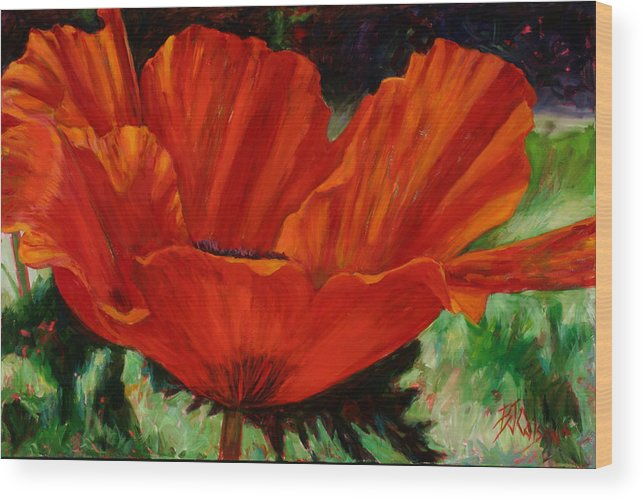 Flower Wood Print featuring the painting Poppy Side View by Billie Colson