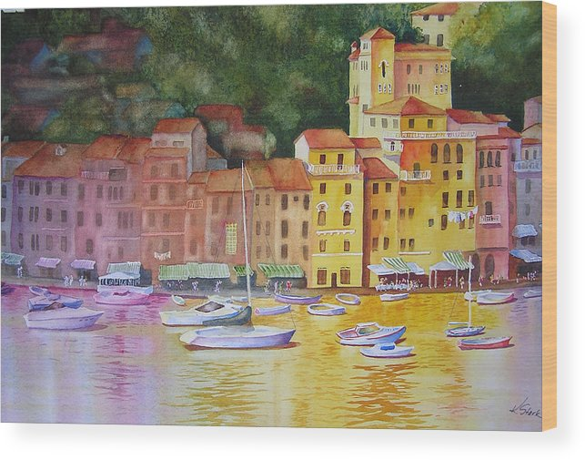 Italy Wood Print featuring the painting Portofino Afternoon by Karen Stark