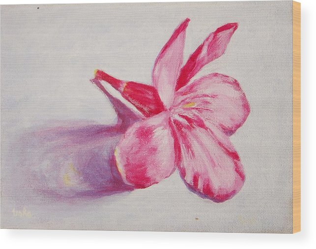 Genneri Wood Print featuring the painting Portrait Of The Kaneri Flower. Oleander by Usha Shantharam