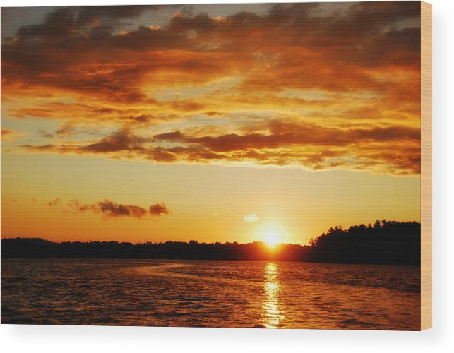 Sunset Wood Print featuring the photograph Pretty Orange Sky by Madelin Zaycheck