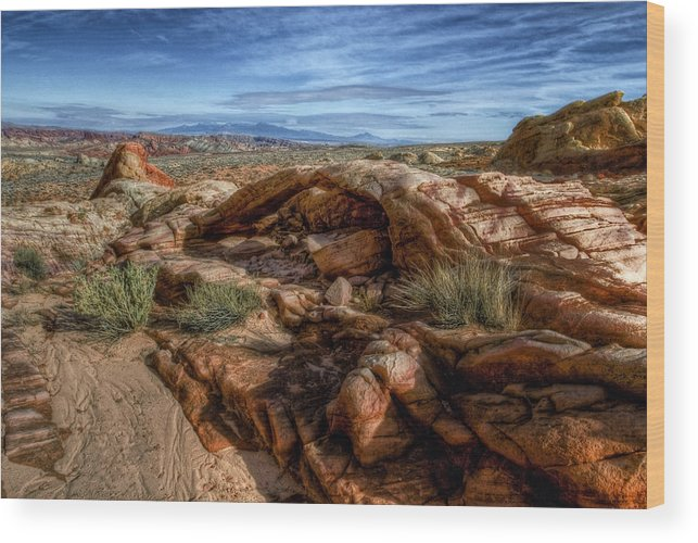 This Was Taken At The Valley Of Fire State Park Overton Nevada. Wood Print featuring the photograph Primitive by Stephen Campbell