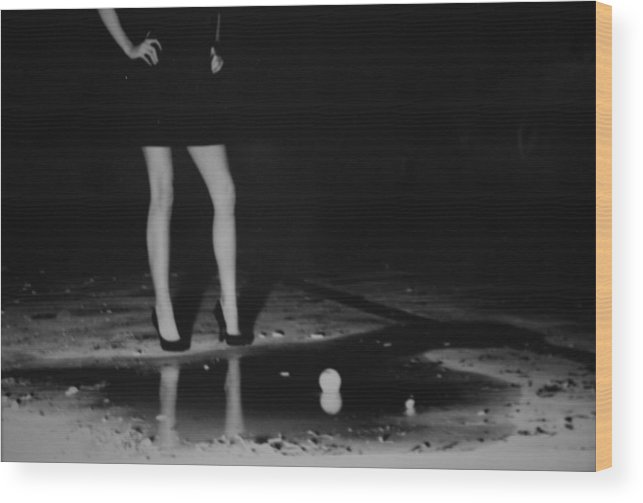 Fashion Photography Wood Print featuring the photograph Puddle by Emily Kemp