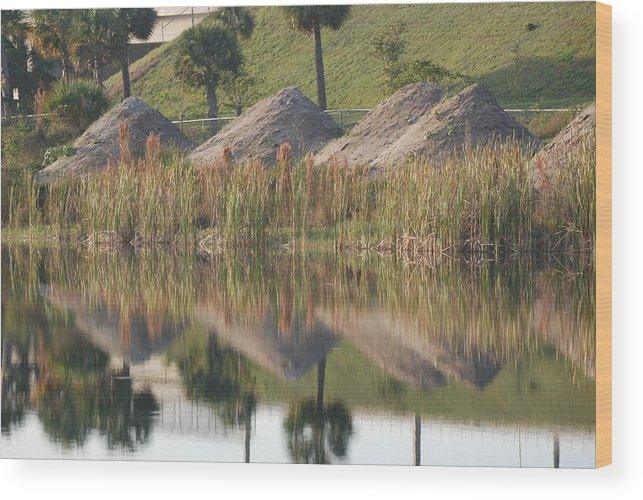 Grass Wood Print featuring the photograph Pyrimids By The Lakeside Cache by Rob Hans