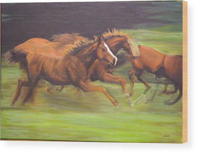 Horse Wood Print featuring the painting Racing Horses by Srilata Ranganathan