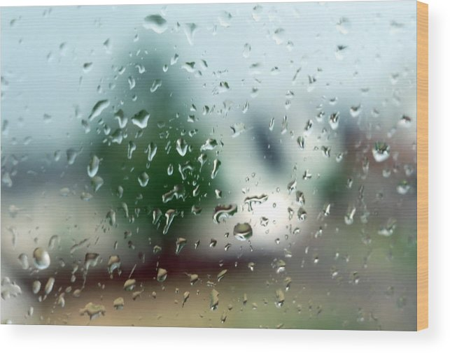 Rainy Wood Print featuring the photograph Rainy Window 1 by Steve Ohlsen