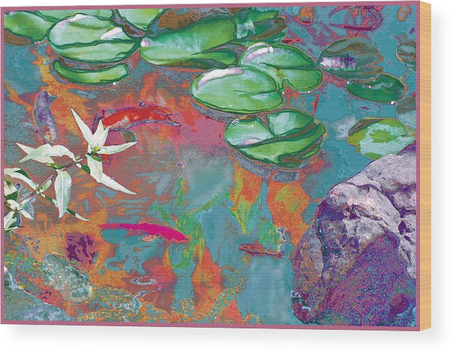 Koi Wood Print featuring the photograph Red Koi In Green Disguise by Judy Loper