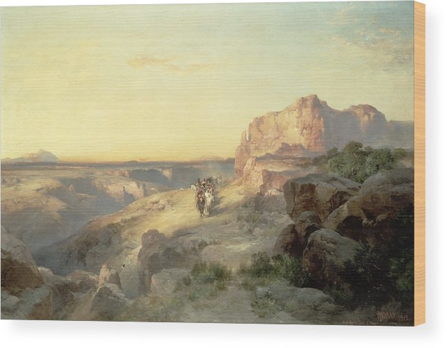 Thomas Moran Wood Print featuring the painting Red Rock Trail by Thomas Moran