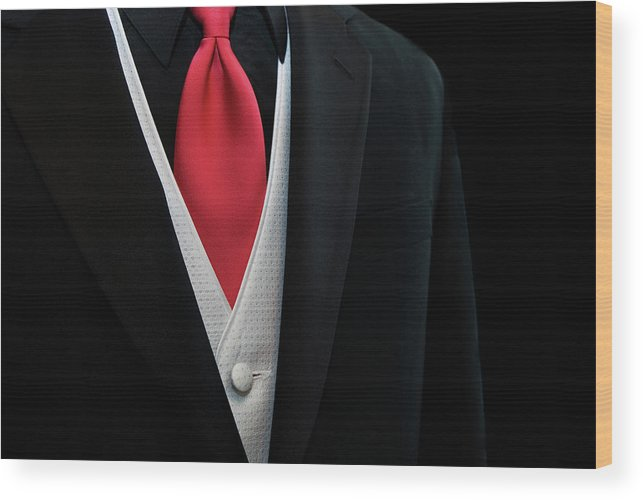 Accessory Wood Print featuring the photograph Red Tie by Maria Dryfhout