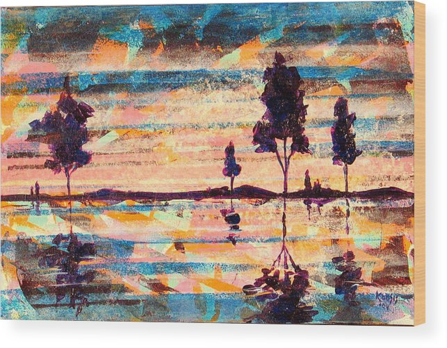 Water Wood Print featuring the painting Reflections by Rollin Kocsis
