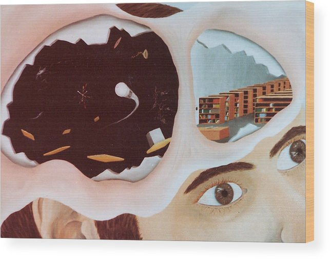 Surrealism Wood Print featuring the painting Revealing The Consicous And Subconsicous by Steven Welch