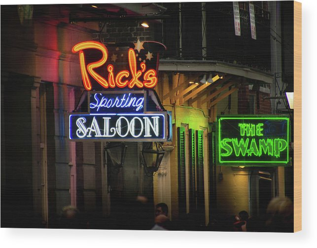French Quarter Wood Print featuring the photograph Ricks Sporting Saloon by Greg Mimbs