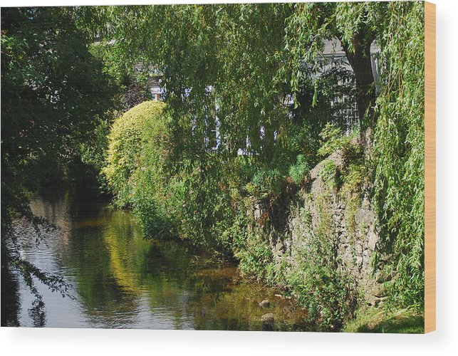 Landscape Wood Print featuring the photograph River Eea Cartmel Cumbria by Peter Jenkins