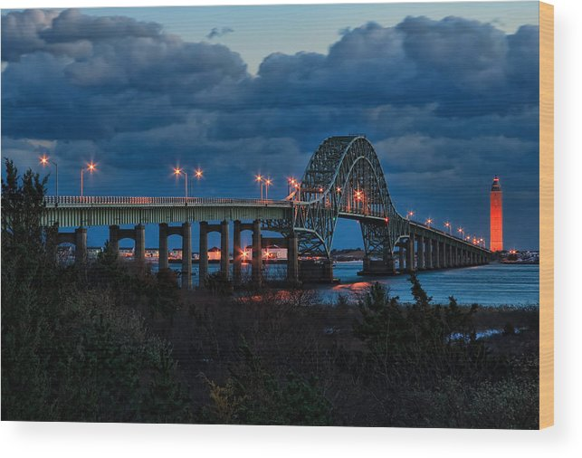 Robert Moses Wood Print featuring the photograph Robert Moses Bridge At Dusk by I Cale