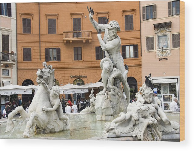 Rome Wood Print featuring the photograph Roman Fountain by Charles Ridgway