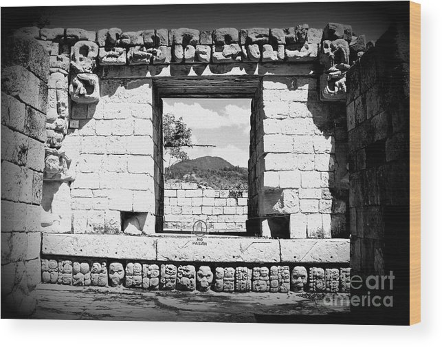 Travel Wood Print featuring the photograph Room With A View Black And White by Trude Janssen
