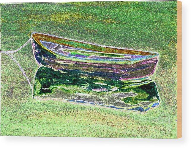 Rowboat Wood Print featuring the digital art Rowboat Fluorescence 2 by Peter Paul Lividini