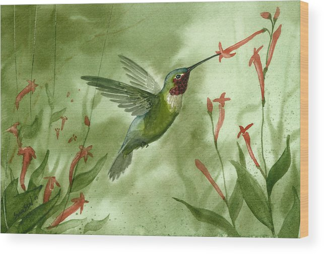 Birds Wood Print featuring the painting Ruby Throated Hummingbird by Sean Seal