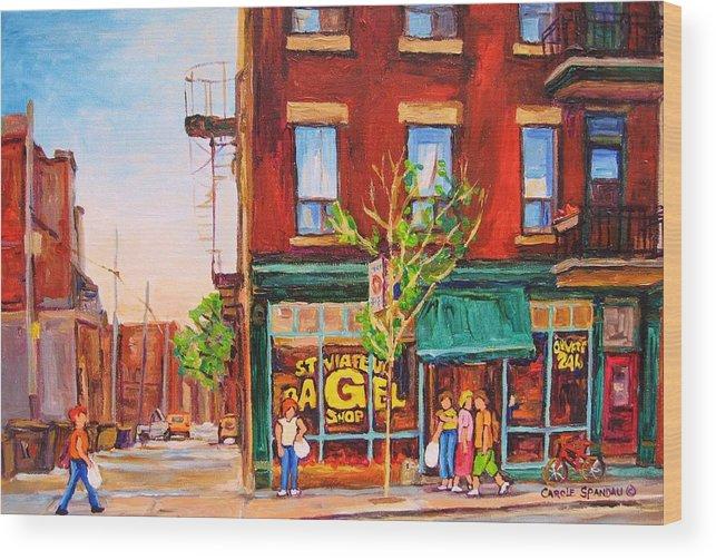 Montreal Wood Print featuring the painting Saint Viateur Bagel by Carole Spandau