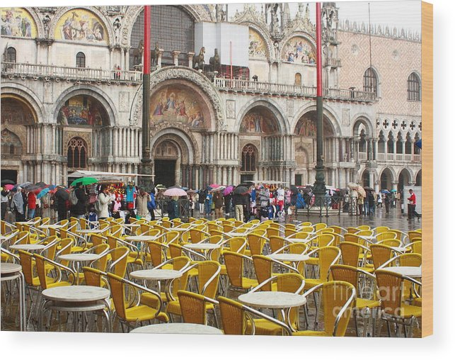 Venice Wood Print featuring the photograph San Marco On A Rainy Day by Michael Henderson