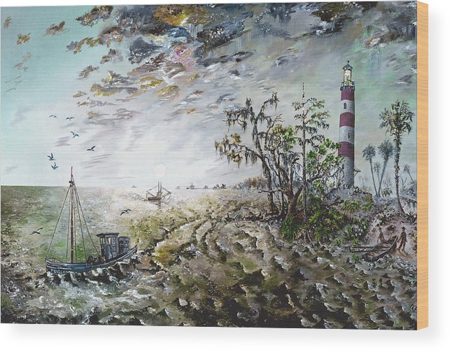 Lighthouse Wood Print featuring the painting Sapelo Island by Richard Barham