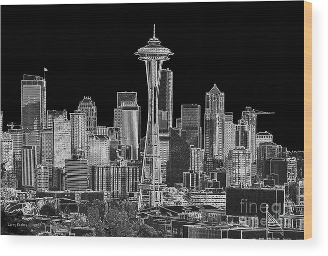 Black And White Wood Print featuring the photograph Seattle Black And White by Larry Keahey