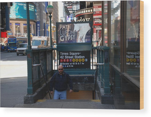 Subay Wood Print featuring the photograph Self At Subway Stairs by Rob Hans