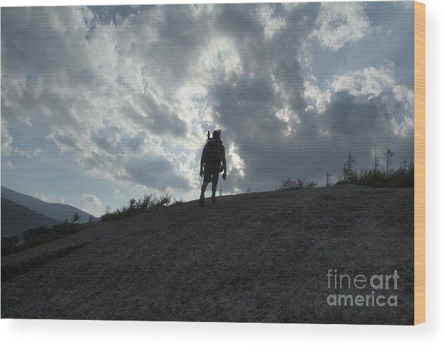Silhouette Wood Print featuring the photograph Silhouette Of A Hiker On Middle Sugarloaf Mountain - White Mountains New Hampshire Usa by Erin Paul Donovan