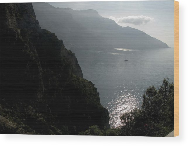 Amalfi Coast Wood Print featuring the photograph Silhouetted Mountains And Sea by Charles Ridgway
