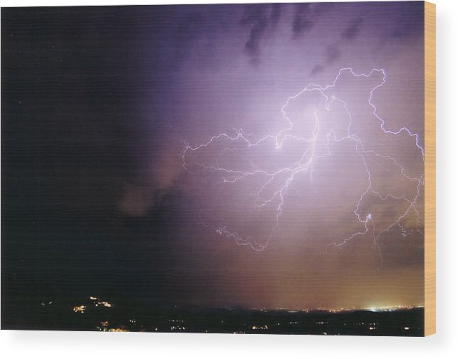 Lightning Wood Print featuring the photograph Sky Angel by Cathy Franklin