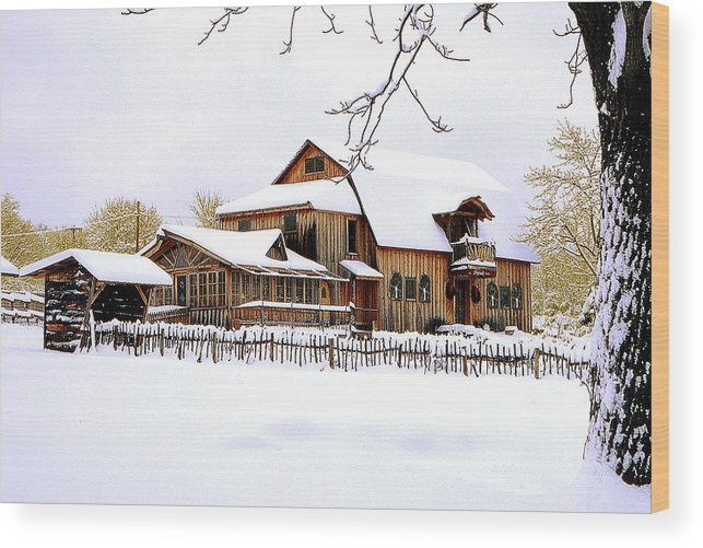 Barn Wood Print featuring the photograph Skyland Farms In Winter by Roger Soule