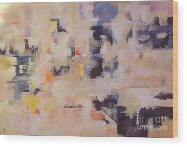 Acrylic Wood Print featuring the painting Soulclouds Top Of The City by Eszter Benyo