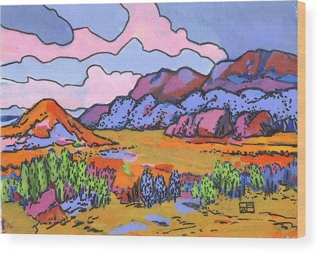 Landscape Wood Print featuring the painting South West Landscape by Helen Pisarek