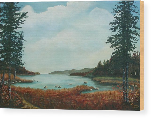 Original Acrylic Landscape Wood Print featuring the painting St Annes Bay Nova Scotia by Sharon Steinhaus