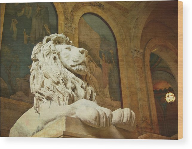 Boston Wood Print featuring the photograph St. Gaudens Lion by JAMART Photography
