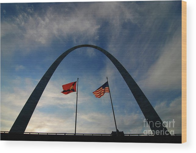 America Wood Print featuring the photograph St Louis Arch Metal Gateway Landmark by Lane Erickson